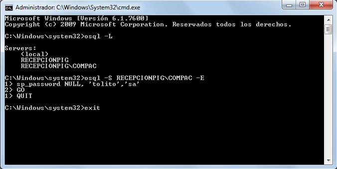 contpaqi cambio de password del usuario 'sa'